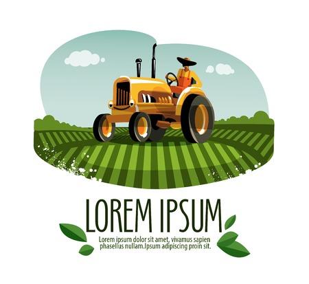 Illustration pour colored cartoon tractor in the field. vector illustration - image libre de droit