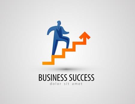 Ilustración de Businessman climbing stairs on a gray background. vector illustration - Imagen libre de derechos