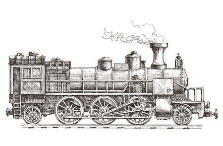 Illustration pour sketch. retro train on a white background. vector illustration - image libre de droit