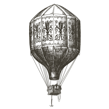 Ilustración de sketch. Vintage balloon on white background. vector illustration - Imagen libre de derechos