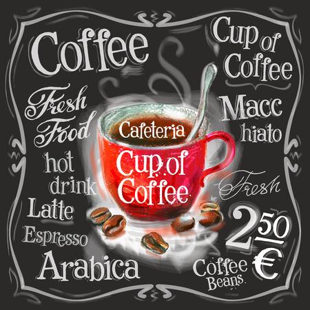 Ilustración de a Cup of coffee on a black background. vector illustration - Imagen libre de derechos