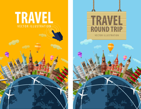 Illustration for journey. sightseeings countries around planet earth. vector illustration - Royalty Free Image