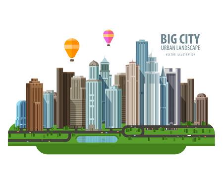 Foto de the modern city and road. vector. flat illustration - Imagen libre de derechos