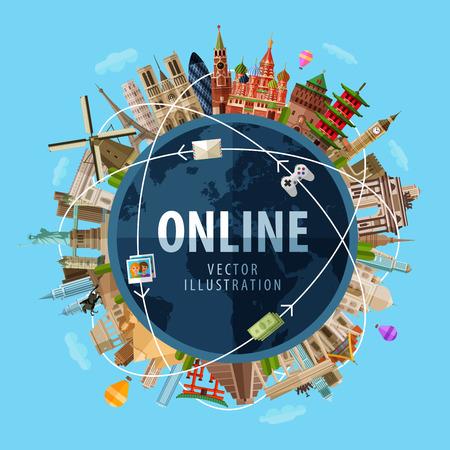 Ilustración de high-speed Internet around the world. vector. flat illustration - Imagen libre de derechos