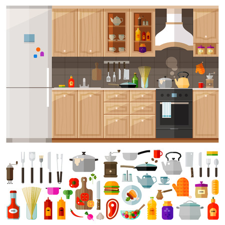 Illustration pour classic kitchen furniture and cooking utensils, food. vector. flat illustration - image libre de droit