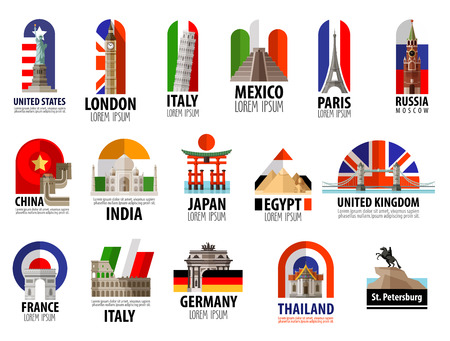 Illustration pour collection of colored icons attractions of the world. vector. flat illustration - image libre de droit