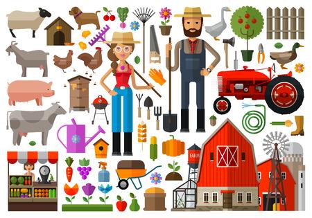 Ilustración de set of icons farming. vector. flat illustration - Imagen libre de derechos