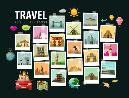 Illustration pour photos of historic architecture in the world. vector illustration - image libre de droit