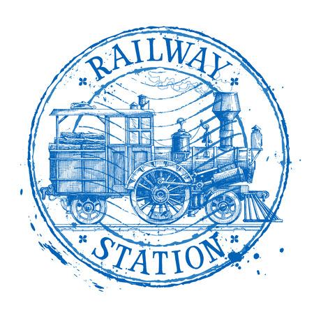 retro steam train on a white background. vector illustration