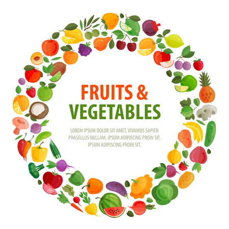 Foto für vegetables and fruits on a white background. vector illustration - Lizenzfreies Bild
