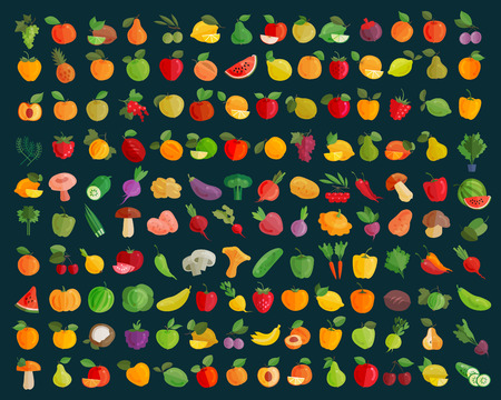 Foto per fruits and vegetables icons set. vector illustration - Immagine Royalty Free