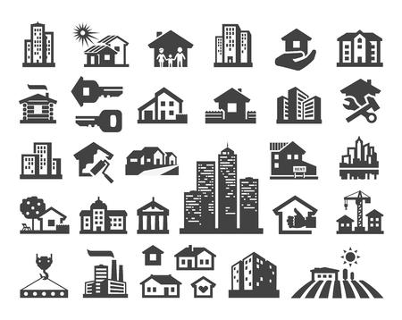 Ilustración de building. Set of icons on a white background. vector illustration - Imagen libre de derechos