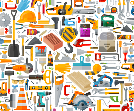 Photo pour construction tools on a white background. vector illustration - image libre de droit