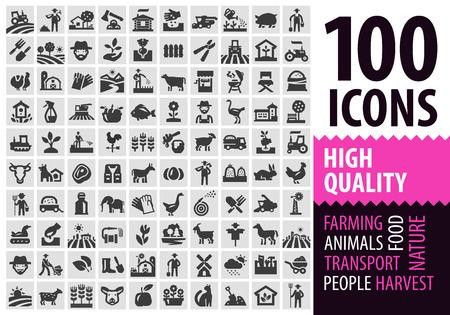 Ilustración de farm. set of icons on the black background. vector illustration - Imagen libre de derechos