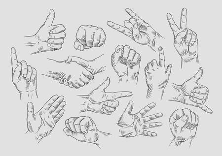 Ilustración de hands icons set on gray background. vector illustration - Imagen libre de derechos