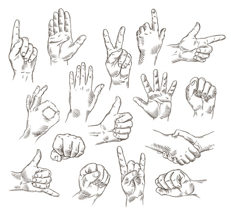 Illustration pour Vector set of hands and gestures - outline illustration - image libre de droit