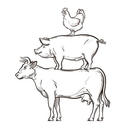 Ilustración de hand drawn cow, pig, chicken. vector illustration - Imagen libre de derechos