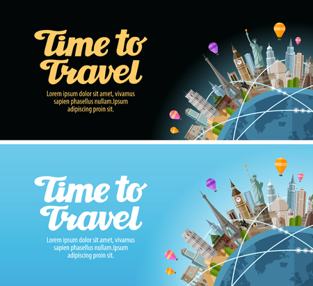 Photo pour Travel to world. Landmarks on the globe. Journey or vacation - image libre de droit