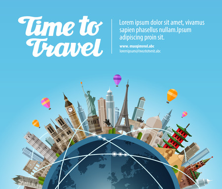 Ilustración de Landmarks on the globe. Travel to world. Tourism or vacation - Imagen libre de derechos