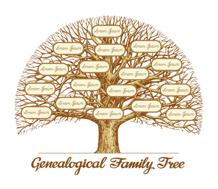 Illustration pour Vintage Genealogical Family Tree. Hand drawn sketch illustration - image libre de droit