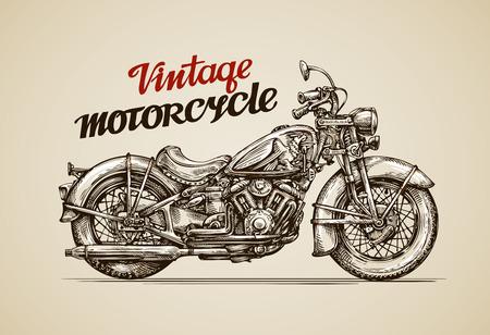 Illustration pour Vintage motorcycle. Hand drawn motorbike vector illustration - image libre de droit