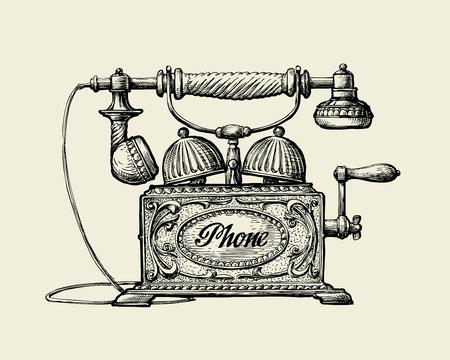 Illustration pour Vintage telephone. Hand drawn sketch retro phone. Vector illustration - image libre de droit