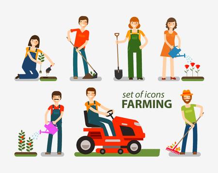 Illustration pour Farming, gardening set of icons. People at work on the farm. Vector illustration - image libre de droit