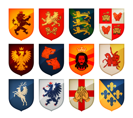 Illustration for Royal coat of arms on shield vector. Heraldry, blazonry set icon - Royalty Free Image