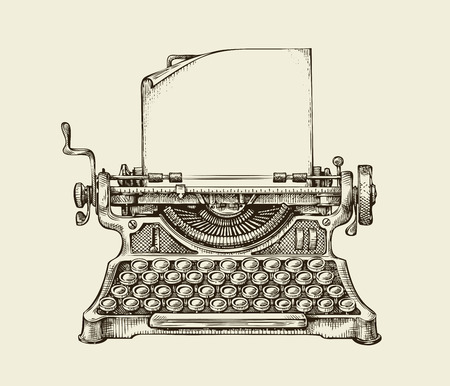 Photo pour Hand-drawn vintage typewriter. Sketch publishing. Vector illustration - image libre de droit
