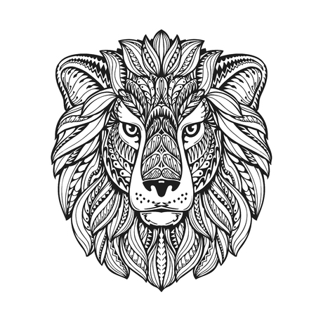 Illustration pour beautiful lion ethnic graphic style with herbal ornaments and patterned mane. vector illustration - image libre de droit