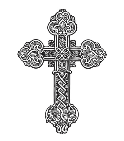 Illustration pour Beautiful ornate cross. Sketch vector illustration isolated on white background - image libre de droit