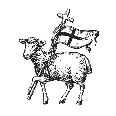 Ilustración de Lamb with Cross. Religion symbol. Sketch vector illustration isolated on white background - Imagen libre de derechos