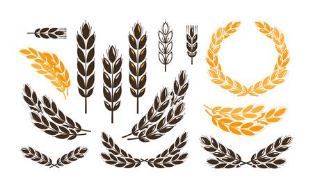 Illustration for Ear wheat, bread logo or label. Harvest, bakery, bakehouse set icons. Vector illustration - Royalty Free Image