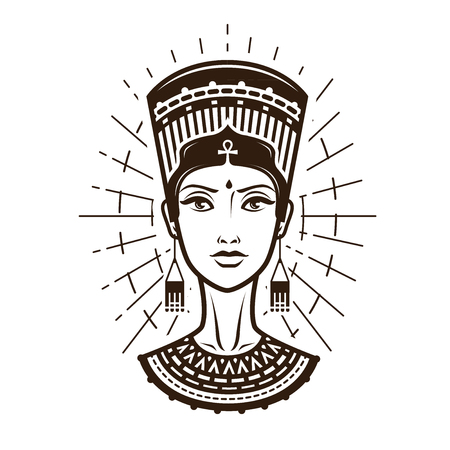 Illustration for Portrait of beautiful young woman, girl in ethnic outfit. Egypt, Africa logo or label. Vintage vector illustration - Royalty Free Image