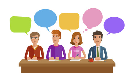 Illustration pour Teamwork, Business, education, public opinion, conference concept. Vector, flat illustration - image libre de droit