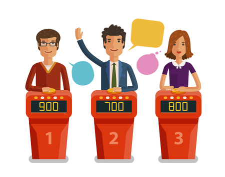 Illustration pour Quiz show, game concept. Players answering questions standing at stand with buttons. Vector flat illustration - image libre de droit