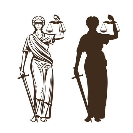 Ilustración de Goddess of justice. Themis with blindfold, scales and sword in hands. Vector illustration isolated on white background. - Imagen libre de derechos