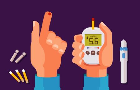 Illustration pour Diabetes, health concept. High blood sugar. Glucometer, glucose meter cartoon vector illustration - image libre de droit