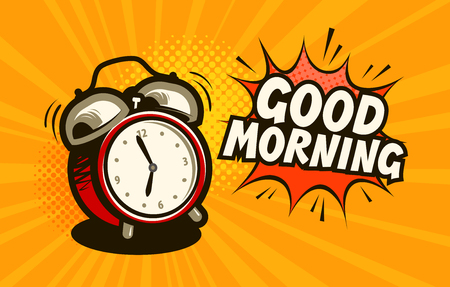 Illustration for Good morning, banner. Alarm clock, wake-up time concept. Cartoon vector illustration - Royalty Free Image