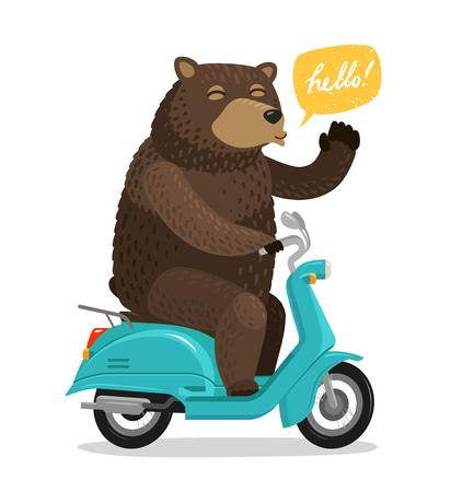 Illustration pour Funny bear riding a scooter. Circus concept. Cartoon vector illustration - image libre de droit