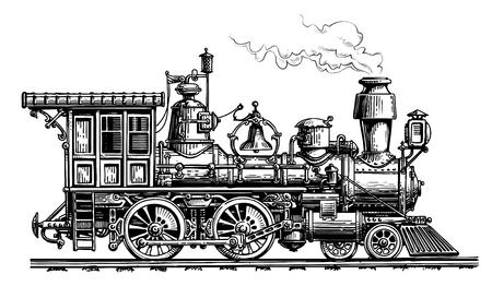 Ilustración de Retro steam locomotive, train Vintage sketch vector illustration - Imagen libre de derechos