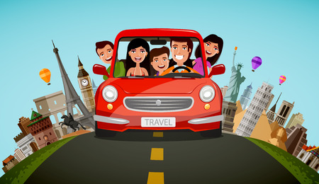 Illustration pour Happy family rides in car on vacation. Journey, travel concept. Cartoon vector illustration. - image libre de droit