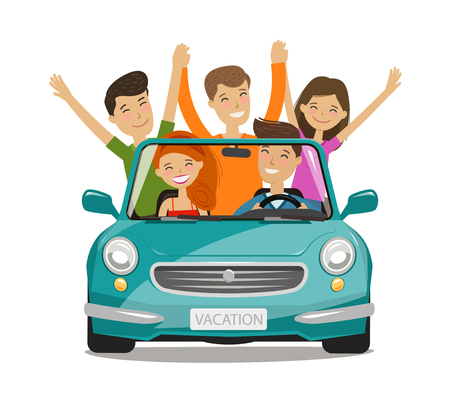 Illustration pour Vacation, journey concept. Happy young people or friends are traveling by car. Cartoon vector illustration - image libre de droit