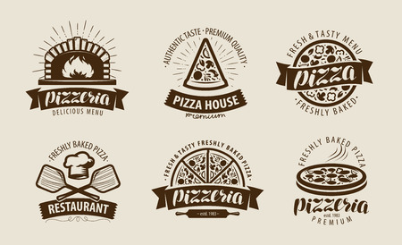 Illustration pour Pizza, pizzeria logo or label. Food symbol set. Vector illustration - image libre de droit