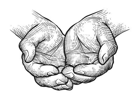 Ilustración de Cupped hands, folded arms sketch. Vintage vector illustration - Imagen libre de derechos