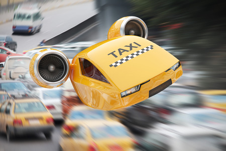 Photo pour Flying on turbines taxicab illustrate the great speed of delivery the client in spite of the traffic jams - image libre de droit