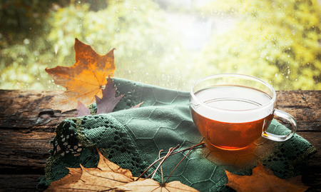 Photo for cup of tea with autumn leaves and green napkin  on wooden window sill on nature background - Royalty Free Image
