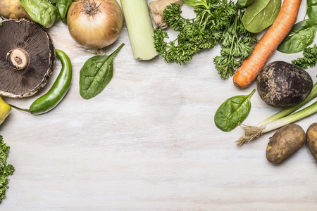 Photo for autumn fresh fruits vegetables and herbs on a white rustic background top view - Royalty Free Image