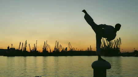 Foto de martial artist training alone on the sea pier, practicing his moves on sunset and port cranes background. - Imagen libre de derechos