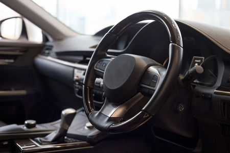 Photo pour Interior of new unknown car with manual transmission. Modern transportation. - image libre de droit